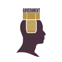 Human head with word government flat icon.